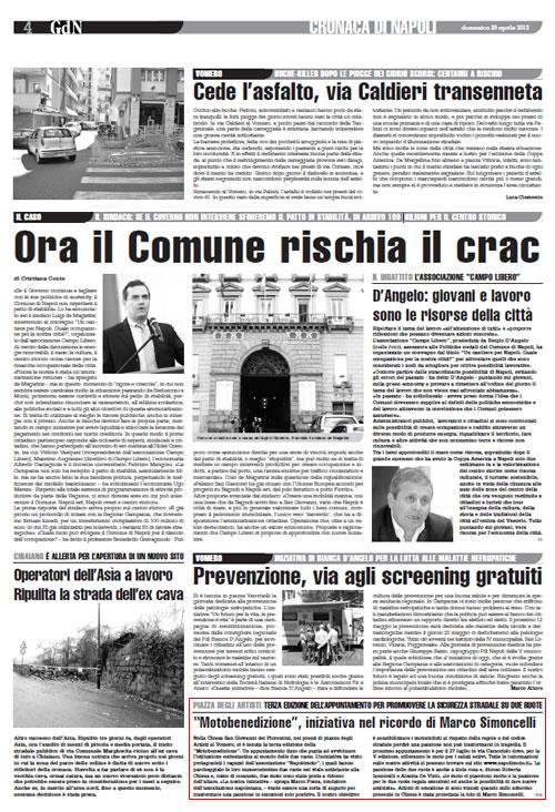 """Il Roma – Giornale di Napoli: """"Motobenedizione"""", iniziativa nel ricordo di Marco Simoncelli"""