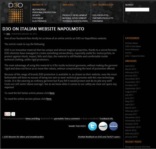 D3O on italian website NapoliMoto