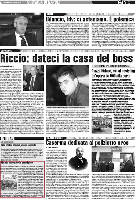 Giornale di Napoli – Il Roma – Moto in chiesa per la benedizione