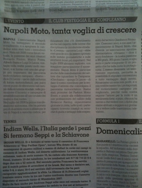 Il Roma – NapoliMoto, tanta voglia di crescere – 16 marzo 2010