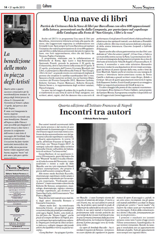 Nuova Stagione: Settimanale Diocesano di Napoli – La Motobenedizione