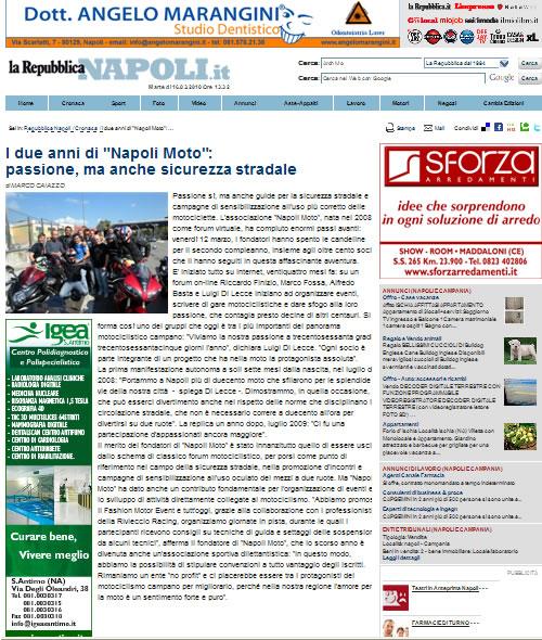 La Repubblica – I due anni di 'Napoli Moto': passione, ma anche sicurezza stradale – 16 Marzo 2010